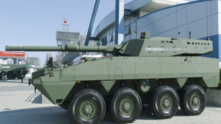 KTO Rosomak Direct Support Vehicle fitted with a XC-8 120HP turret armed with a 120mm Calibre Length 47 smoothbore main gun