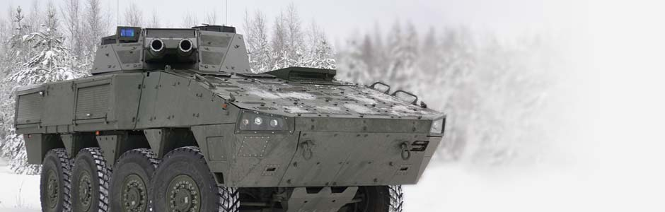 Finnish Patria AMV AMOS Mortar